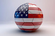 3d render of soccer ball with nord america flag.