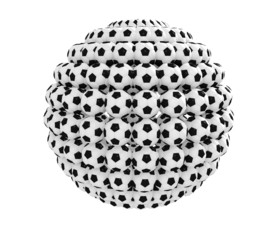 Ball shape composed of many soccer balls isolated on white.