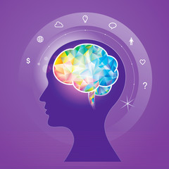 Human brain idea geometric infographics design.