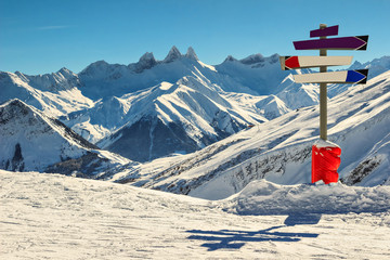 High mountains and signboard in the Alps,Les Sybelles,France