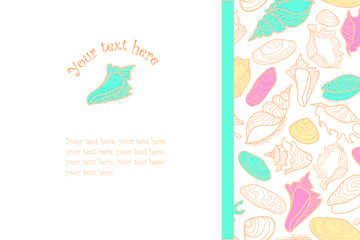 Vector hand drawn background with cute colorful seashells