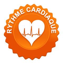 rythme cardiaque sur bouton web denté orange