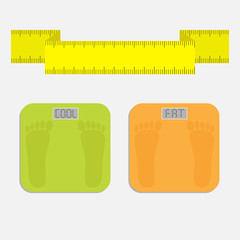 Bathroom floor electronic weight scale word fat. Measuring tape