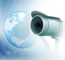 Surveillance camera with digital world.