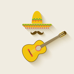 Mexican sombrero and guitar