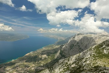 Coast of the Adriatic Sea seen from the top of Vosac, Croatia