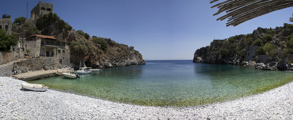little beach and clear water in Peloponneso