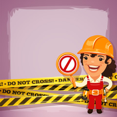 Female Builder With Danger Tapes