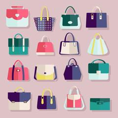 Flat icons set of fashion bags