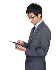 Asian businessman  touch on tablet