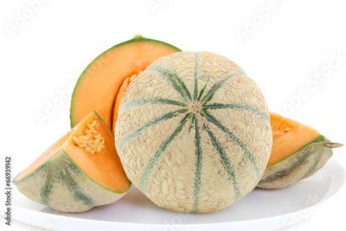 Spoed canvasdoek 2cm dik Keuken Melon de France frais avec quartiers sur fond blanc