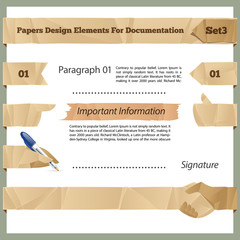 Crumpled Paper Design Elements For Documentation Set3
