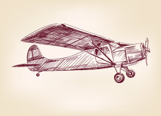 plane  hand drawn vector llustration realistic sketch