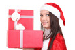 Christmas Santa hat isolated woman portrait hold christmas gift