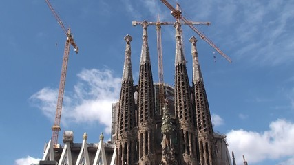 Construction of Sagrada Familia church. Nativity facade