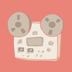 Retro vintage reel to reel tape recorder, old tape vector