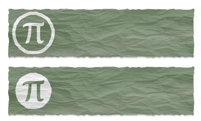 set of two banners with crumpled paper and pi symbol