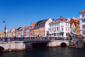 Nyhavn bridge waterfront and canal district in Copenhagen