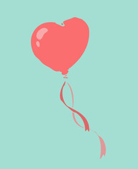 Heart balloon vector Illustration, hand drawing