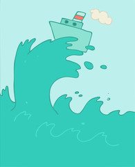 Ship in sea big waves vector illustration