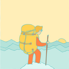 Climbing, vector retro styled illustration.