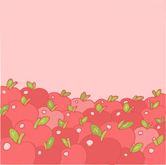 Apples  pattern. Vector illustration, hand drawing
