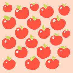 Apples  pattern. Vector illustration, hand drawing