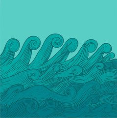 Vector Illustration of waves, hand drawing