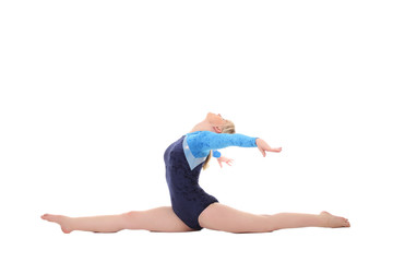 young girl performs gymnastic exercises