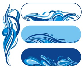 Water wave symbols set