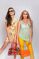 Две модные девушки с сумками