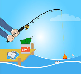 Conceptual illustration with fishing cartoon catching smartphone
