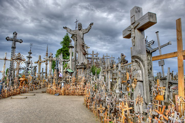 Hill of Crosses in Lithuania. HDR.