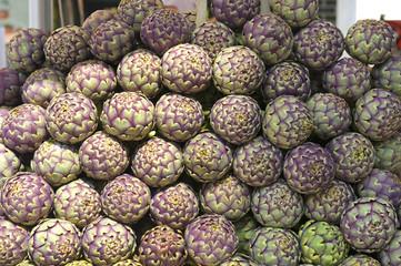 Globe artichokes in an Italian market.