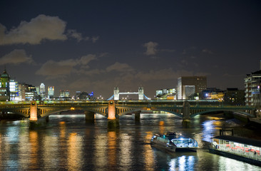 London at night, looking towards Tower bridge.