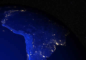The Earth from space at night. South America.