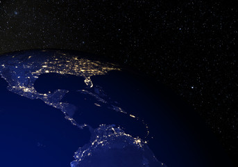 The Earth from space at night. Central America.