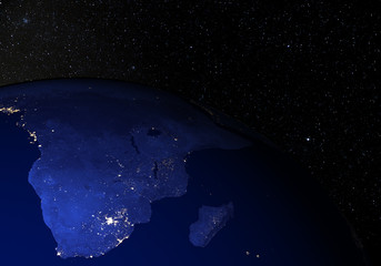 The Earth from space at night. South Africa.
