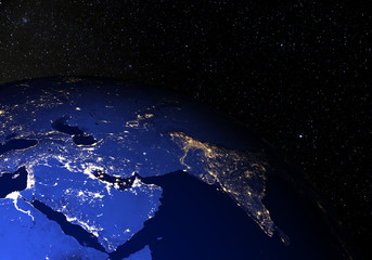 The Earth from space at night. Middle East.