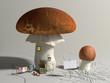 Obrazy na płótnie, fototapety, zdjęcia, fotoobrazy drukowane : Mushroom house with a blank sign outside.