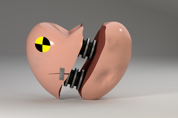 Crash test heart. Broken heart analogy to the crash test dummy.