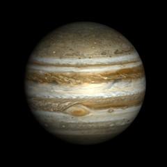 Jupiter, isolated on black.