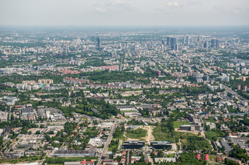 Aerial view on Warsaw, capital of Poland