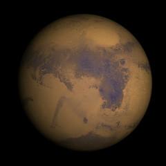 Mars isolated on black.