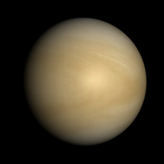 Venus isolated on black. Cloud layer, not solid surface beneath.