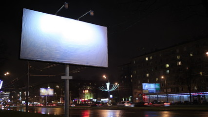 Time lapse empty billboard, by night