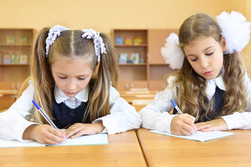 Two focused girls in uniform sit at wooden school desk