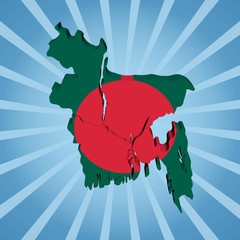 Bangladesh map flag on blue sunburst illustration