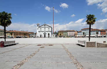church in the town square of PALMANOVA in friuli venezia giulia
