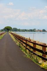 cycling track alongside the sea near the town of GRADO Italy